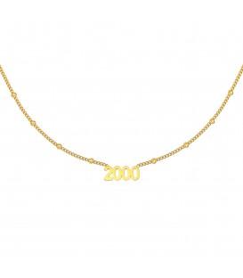 goudkleurige halsketting met jaartal 2000